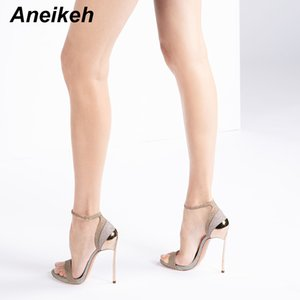 Aneikeh 2020 Fashion PU Sandal Women Summer Shoes Bling Bling Thin High Heels Round Toe Buckle Strap Ladies Party Gold Silver 42
