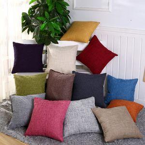Funda de almohada de lino y algodón de 40 cm * 40 cm Funda de almohada de arpillera sólida Funda de cojín cuadrado de lino clásico Fundas de almohadas de sofá GGA2570