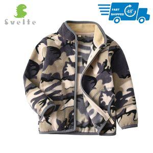SVELTE para 2-10 Yrs Criança e Young Boys' Full-zip Camo Polar Jacket camisola Outwear Roupa das Crianças