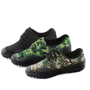clásica piso barato duradera de lona de goma zapatos de tacón de liberación bajas militry camuflaje calzado U01350 zapatos de entrenamiento militar de zapatos de trabajo