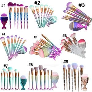 8 pcs Sereia Em Forma de Pincéis de Maquiagem Set Fundação Pó Sombra Blush Contorno Escovas Kit Ferramenta DHL frete grátis
