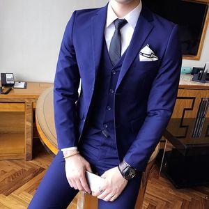 2020 einfarbig Hochzeit Smoking Slim Fit 3 Stück Anzüge Bräutigam Kleidung Kleid Männer Business Casual Blazer Prom Dinner Anzüge Groomsman Wear