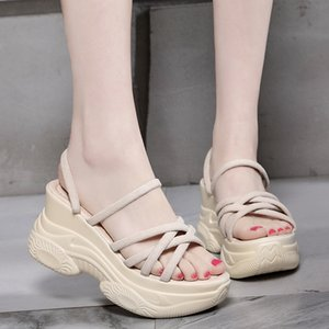 Rimocy Ladies Comfort Wedge Heel Sandals Summer 2020 Solid Flock High Platform Shoes Women Casual Chunky Gladiator Sandals Mujer Y200702
