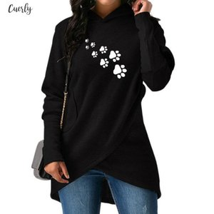 2020 Pullover New Fashion Dropshipping Dog Paws Print Hoodies Women Sweatshirts Female Harajuku Casual Loose Cropped Autumn And Spring