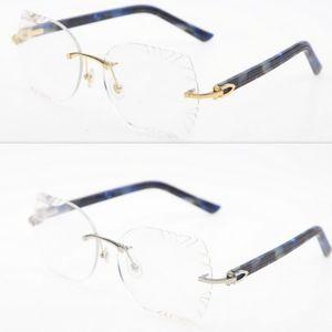 Plank Rimless Sunglasses Eye Plaid Female Sunglasses Male Rimless Wholesale Triangle Lens Glasses New Eyewear Unisex SunGlasses Cat Blu Topx