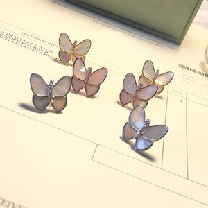 Fashion Advanced Trend Women Shell Butterfly Pretty Love Earrings New Titanium Steel Rose Gold Earrings Jewelry