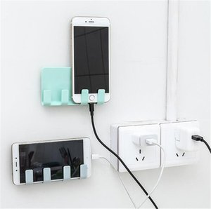 Hot Organization Practical Wall sticking Phone Charging Holder Socket Strong Sticky Adhesive Charge Up Cell Phones Sopport Rack Shelf Hooks