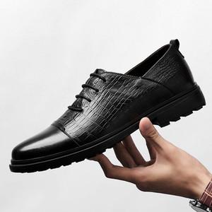 cuoio genuino della mucca scarpe affari accento delle nozze degli uomini pattini piani casuali scarpe vintage a mano oxford per gli uomini neri autunno marrone