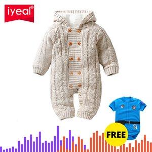 IYEAL Grosso Quente infantil macacão roupa do bebê de Inverno bebé recém-nascido menina camisola de malha com capuz Jumpsuit Kid Criança Casacos V191112