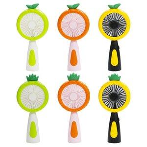 Gece aydınlatması LED 2 Hız Taşınabilir Masaüstü Hayranları OOA8015 ile Meyve El Fan Karikatür Ananas USB Şarj edilebilir Mini Fan