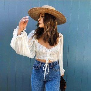 Romântico Cortar Collar Prairie Chic Elegantie Praça Tops Mulher 2020 Moda Sólidos Branca High Street Bar Club Camiseta