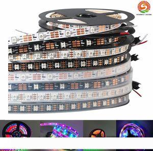 Светодиодная лента APA102 60leds м RGB LED SMD 5050 привело полосы 5М Водонепроницаемый IP67 Цвет Сменные эффекты Черный PCB DC5V