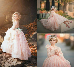 Pink Lace Flower Girl Dresses With Ruffles Jewel Neck Lace 3D Floral Appliqued A Line Backless Girls Pageant Dress High Long Sleeve Gowns