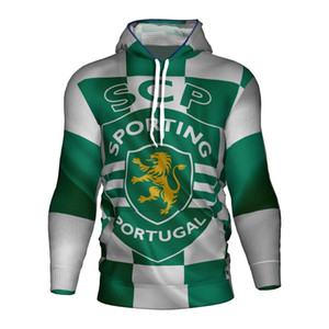 Sporting Lizbon Portekiz Futbol Forma 2018 2019 3d Hoodie Sporting Lizbon Kulübü Portekiz Kazak Kapüşonlular