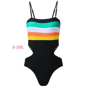 2020 Spring and Summer Burst Models Hit The Color Striped Suspenders Piece Swimsuit Beach Swimwear Female Clothes PH-XY2005093