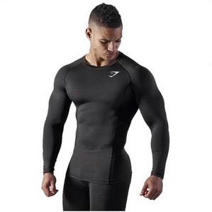 2019 spor salonu erkek egzersiz Yuvarlak yakalı ve uzun kollu erkek tişörtü, nefes alabilen ve sade vücut geliştirme pamuklu jarse spor