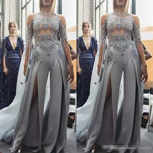 Sexy Split Combinaison Robes De Bal 2019 Nouveau Design Arabie Saoudite Illusion Robes De Soirée Dentelle Appliqued Perles Zuhair Murad Costume De Soirée