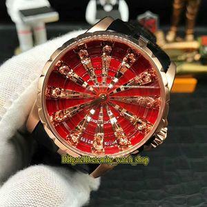 Limite ZZ Edição Excalibur RDDBEX0684 Knight of Diamonds Assista IV RD 821 Homens do Automatic Mesa Redonda Dial Relógios de luxo Rose caso de ouro