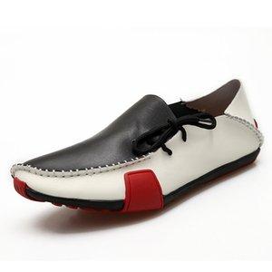 GOXPACER Nova Primavera e os homens verão sapatos Plano Heel Lacing Flats moda casual respirável couro real Shoes Deslizamento Homem com