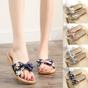 Slip verano preciosa femenina de las mujeres de Bohemia del Bowknot de lino de lino Chanclas playa zapatos sandalias del deslizador de zapatos de mujer Mew #