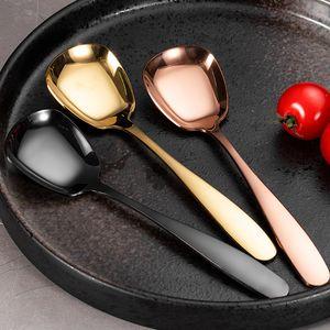 304 paslanmaz çelik Kaşık çatal bıçak kare kafa yassı paslanmaz çelik kaşık bulaşığı Tatlı Mutfak Aracı 7 Renk WX9-1689