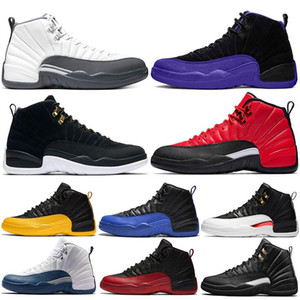 Manbasketballshoes 12s رمادي رمادي داكن الدولي 12 فئة 2003 ميشيغان أحذية كرة السلة رجالي UNC Bulls XII Bordeaux رياضة رياضة