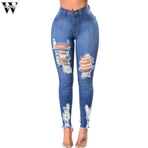 Donna vita alta Stretch Denim Jeans Alta Elastic Denim Hole Female vita sottile sexy dei jeans dei pantaloni della matita di moda