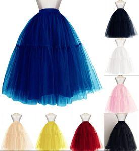 Novos 5 camadas Mulheres Midi Tulle Tutu Saia Petticoat casamento vestido nupcial vestido de baile de noite em saias CPA1091