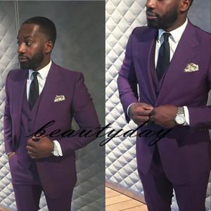 2019 Yeni Mor Düğün Smokin Slim Fit Damat Custom Made Groomsmen Balo Parti Takım Elbise Suits (Ceket + Pantolon + yelek) Siyah Çift Gün