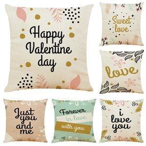 Covers Sweet Love linho capas de almofada Home Office Sofá Praça fronha de almofada decorativa Sem Insert (18 * 18 polegadas)