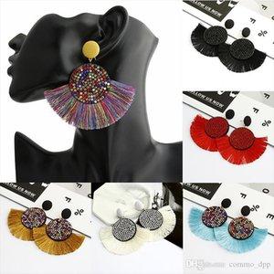 Women crystal Fan shaped Tassel Dangle Earrings For Ladies vintage Ethnic Bohemian Long Big fringe Statement Drop Earring Boho Jewe