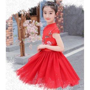 Cheongsam bambini abito tradizionale cinese Dress aggiornato rame Ammoniaca fibra vestito quotidiano Lady