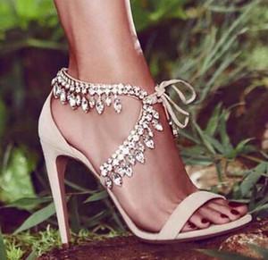 Eunice Choo Stil Rhinestone Gladyatör Sandalet Kadınlar Süet Strappy Yüksek Topuklar Ayakkabı Kadın Lace Up Moda Zapatos Mujer Pompalar