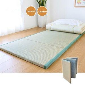 Folding Japanese Traditional Tatami Mattress Mat Rectangle Large Foldable Floor Straw Mat For Yoga Sleeping Tatami Flooring