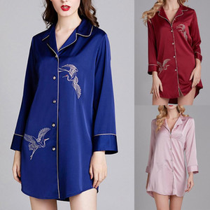 Women Pajamas Bathrobes Simulation Silk Pajamas Home Sleepwear Nightwear #3