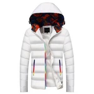 Мужчины Пальто 2019 Зимняя куртка для мужчин Толстых с капюшоном сплошного цвета вскользь хлопок костюм Bubble Jacke Дизайнер одеждой Hoodie