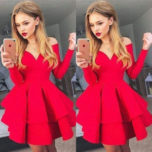 2020 New Red Satin manga comprida Vestidos Homecoming Off the 8th ombro Grade Curto Prom Dresses baratos Ruffles Cocktail Party vestidos para adolescentes