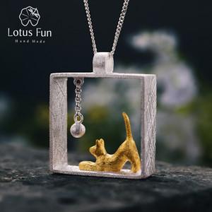 Lotus Fun Real 925 Sterling Silver Handmade Designer de Jóias Finas Moda Gato Jogando Bolas Pingente Sem Colar Para As Mulheres Y19051602
