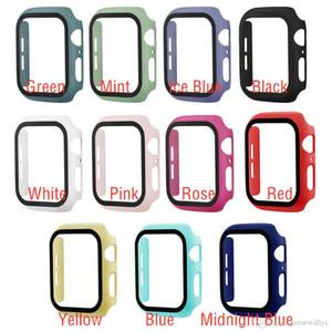360 volle Abdeckung für Apple Watch Serie 5 4 3 2 Gehäuse 38 42 40 44m Kunststoff-Stoßstange mit gehärtetem Glas für iWatch