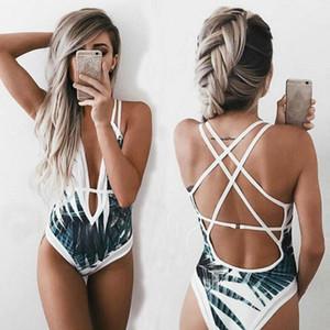 Bkini Sexy One Piece Swimsuit Mulheres 2019 Verão Beachwear Lace um ombro Swimwear fatos de banho Bodysuit Monokini Swimsuit