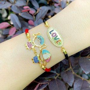 Gold Love Letter Charm Bracelets For Women Zirconia Boys And Girls Couple Bracelet Statement CZ Rainbow Fashion Jewelry brtc18
