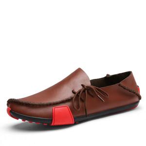 с коробкой Новые кожаные мужские Мокасины Мода Обувь ручной работы мокасины из мягкой кожи скольжения на Мужская Boat Shoe PLUS SIZE