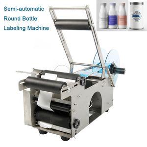 MT-50 Aço inoxidável Semi Automatic Rodada garrafa rótulo Rotulagem Máquina Garrafas Aplicador para a medicina copo de plástico auto-adesivo Labeler