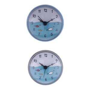 2pcs Shower Clock Wall Suction Clock Moistureproof Colorful Home Decoration