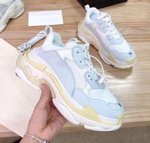 Мужская повседневная обувь Тройной S Comfort Low Старый папа Sneaker Комбинированную Подошвы ботинок женщин людей кроссовки обувь Лучшие качества