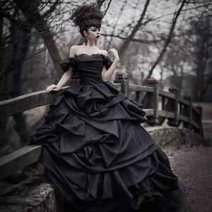 2020 Новый плеча черный Готические свадебные платья Pick Up атласная Многоуровневое Pleat Lace Викторианский Свадебные платья плюс размер корсета выполненный на заказ