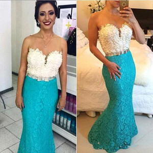 Turquoise Mermaid Prom Dresses 2K19 Illusion Neckline See Though Back Lace Beaded Evening Gowns Formal Pageant Party Gown 2020 Custom Made