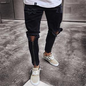 Trou Mens Designer Jeans Fashion Skinny Zipper lambrissé Hommes Crayon Pantalons simple Zipper hommes Fly Vêtements