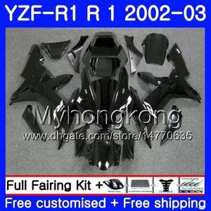 Body nero lucido per YAMAHA YZF R 1 YZF 1000 YZF-1000 YZFR1 02 03 Carrozzeria 237HM.20 YZF R1 02 YZF1000 YZF-R1 2002 2003 Telaio per carenatura