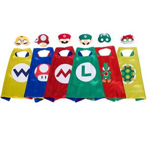 6 personagens dos desenhos animados capa de super-heróis com máscara para crianças 27 polegada super mario trajes cosplay cape yoshi wario koopa festa favores halloween